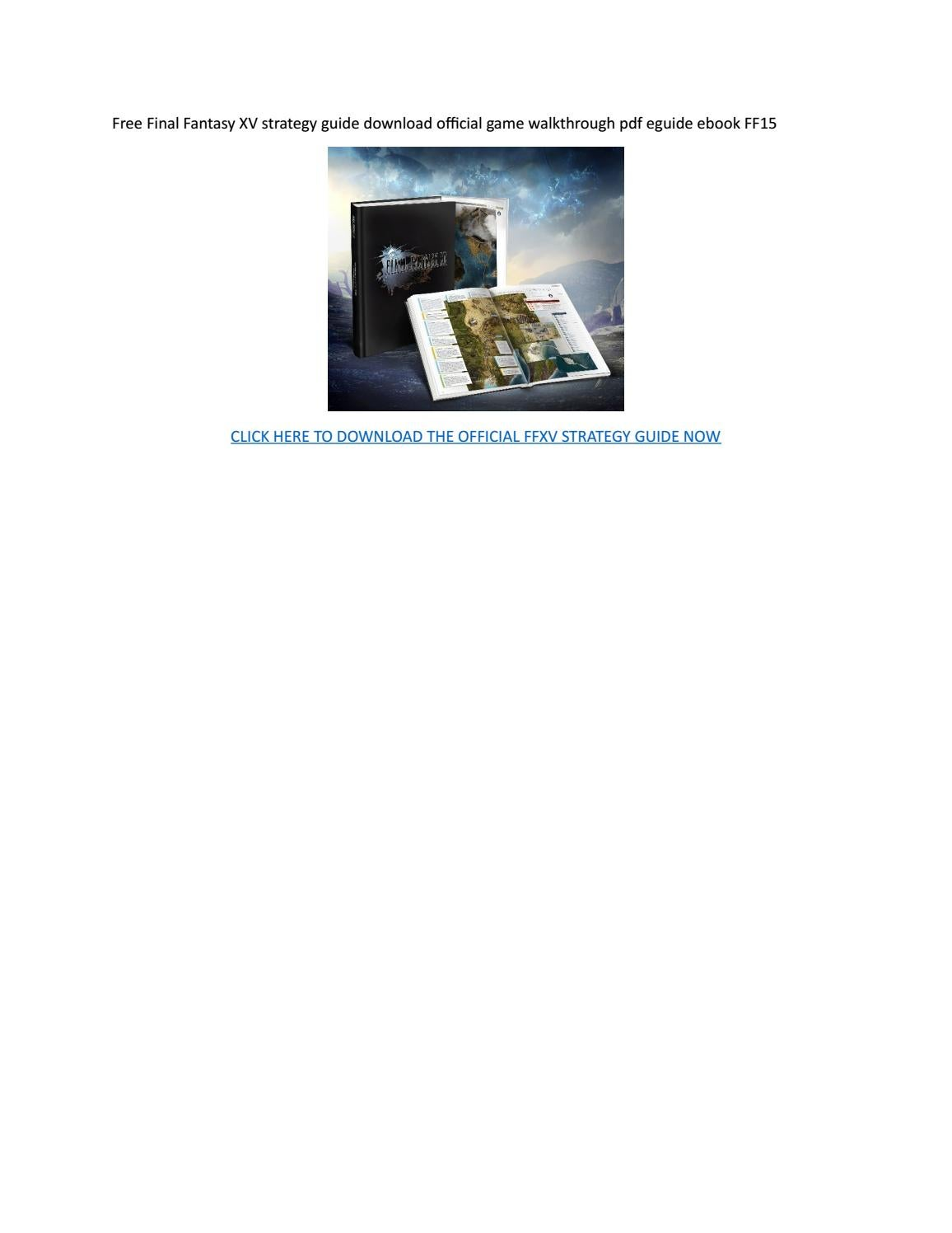download final fantasy xv official guide torrent